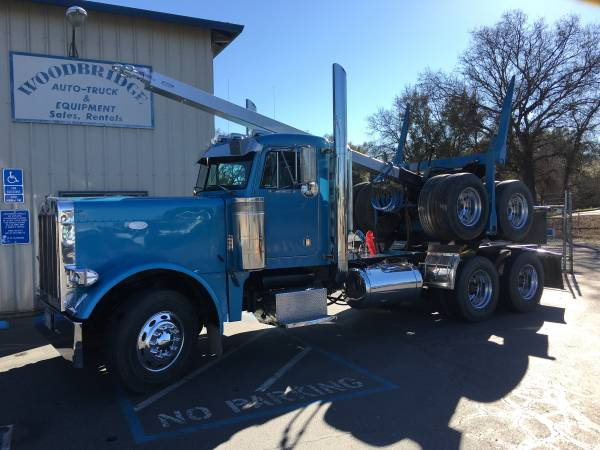 Peterbilt 379 Extended Hood 3 Axle Day Cab Tractor Logger log Truck $37500