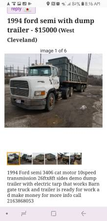 1994 ford semi with dump trailer (West Cleveland) $15000